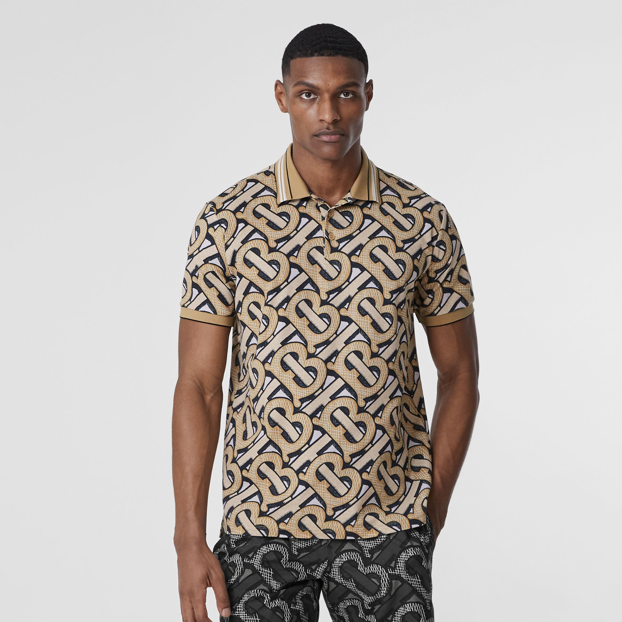Monogram Print Cotton Piqué Polo Shirt – Unisex in Dark Beige | Burberry - 3