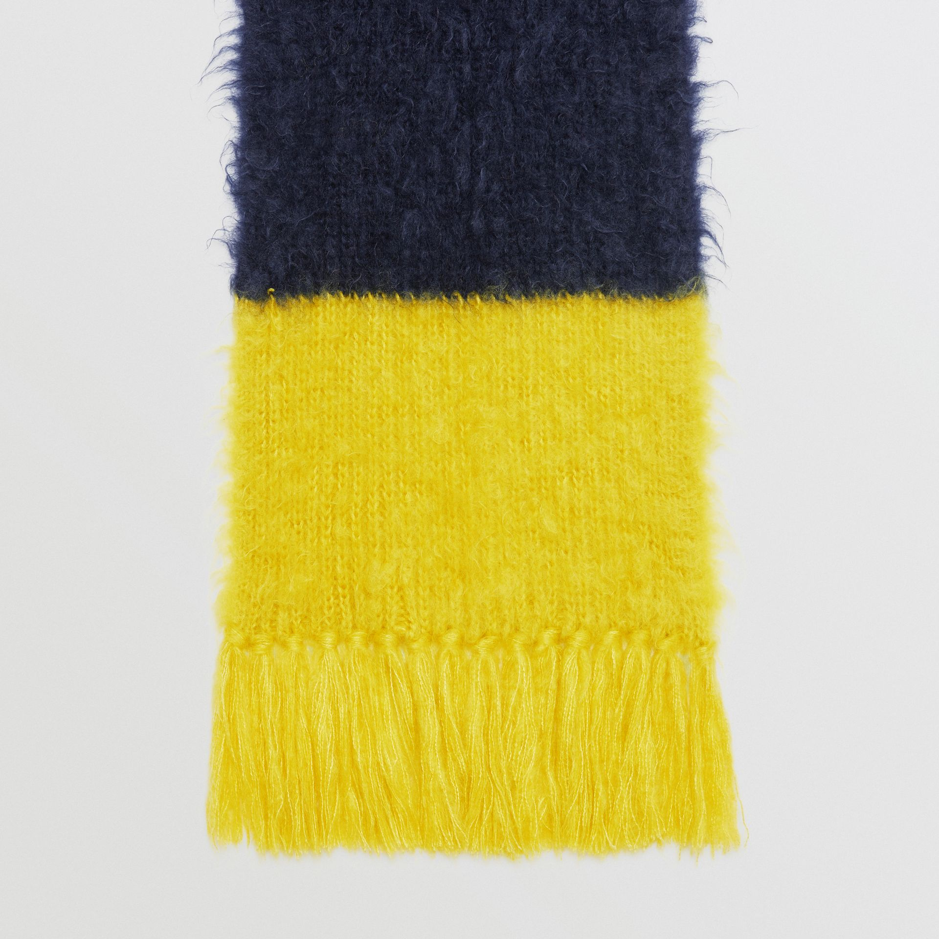 Colour Block Mohair Silk Oversized Scarf in Ink Blue - Women | Burberry - gallery image 4