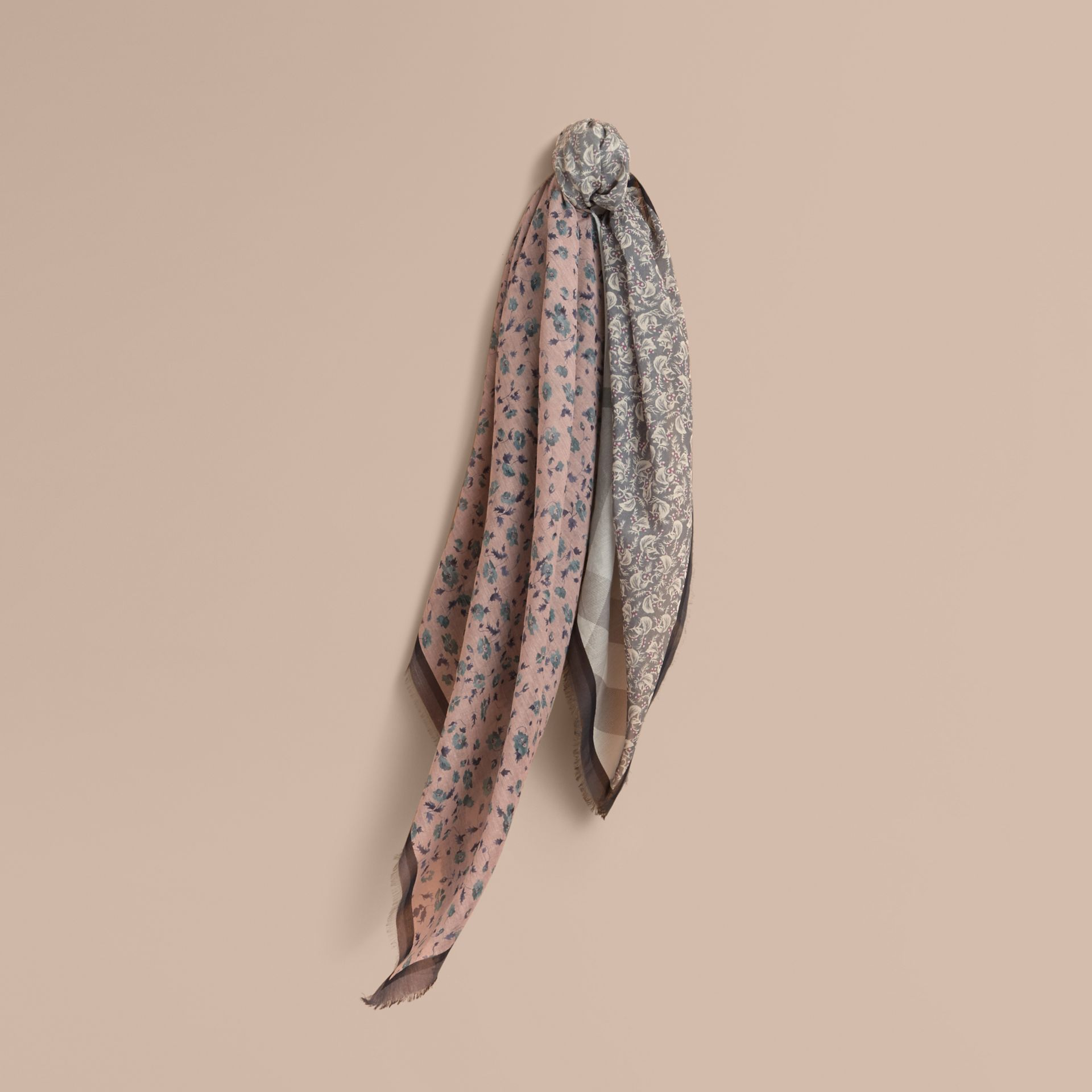 Lightweight Floral and Check Print Cotton Silk Scarf in Steel Blue - Women | Burberry - gallery image 1