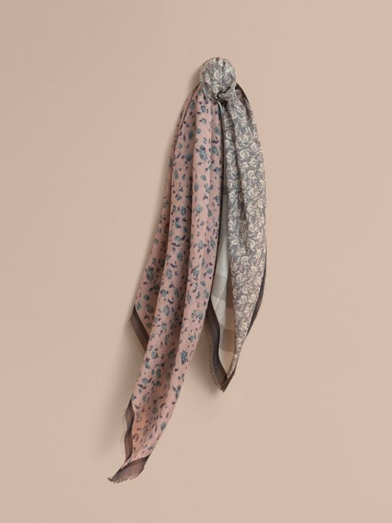 Lightweight Floral and Check Print Cotton Silk Scarf in Steel Blue