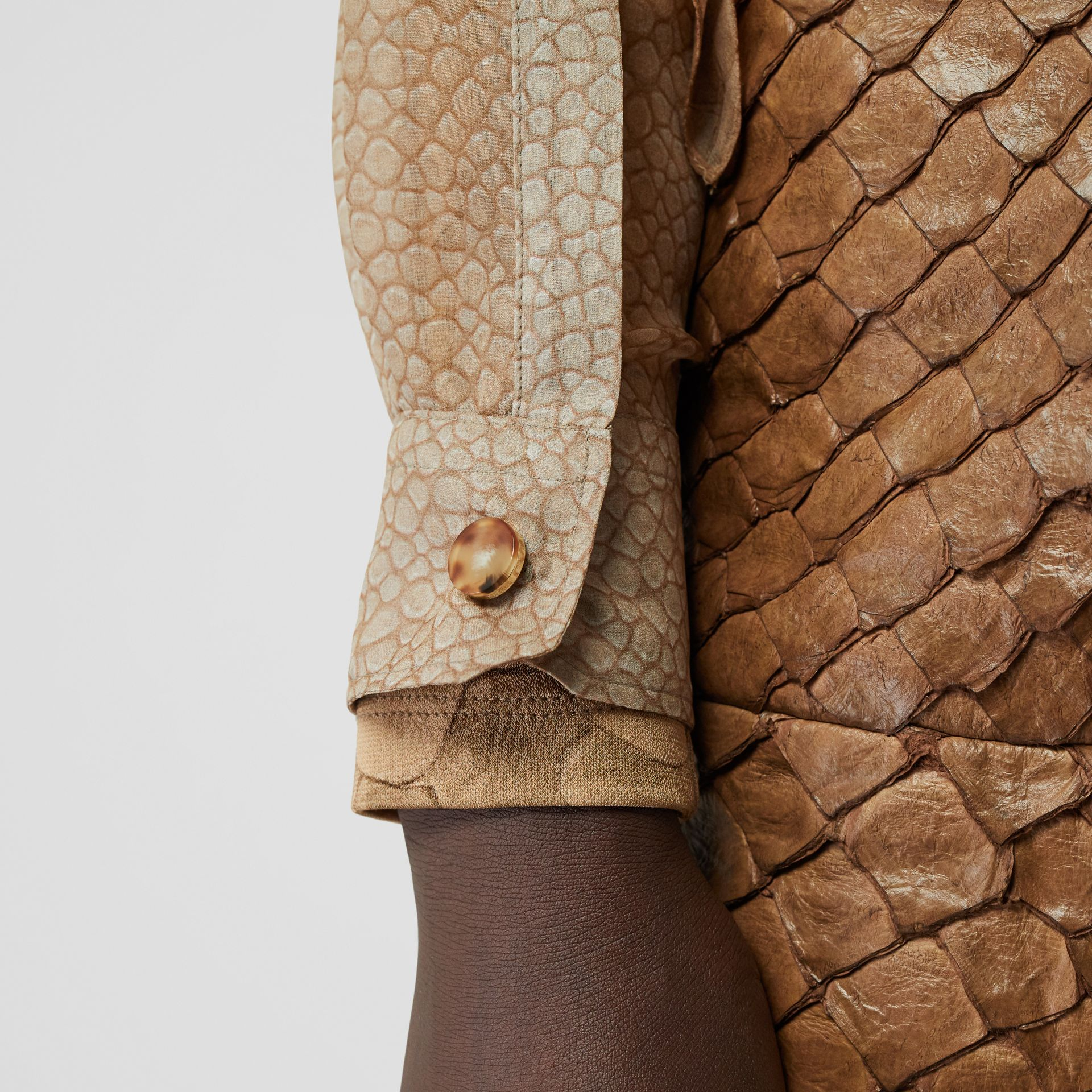 Fish-scale Print Silk Oversized Pussy-bow Blouse in Light Sand - Women | Burberry - gallery image 4