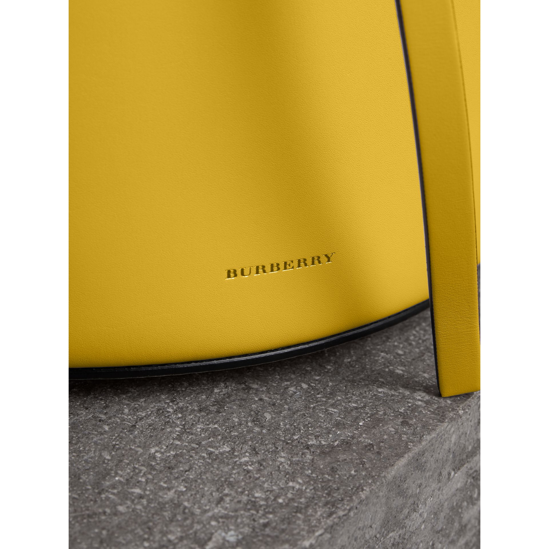 The Small Leather Bucket Bag in Bright Larch Yellow - Women | Burberry United States - gallery image 1