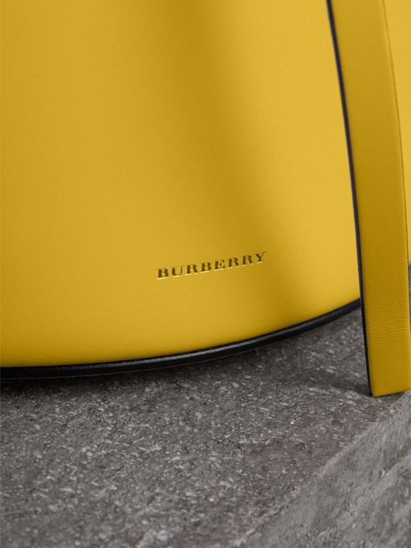 The Small Leather Bucket Bag in Bright Larch Yellow - Women | Burberry United States - cell image 1