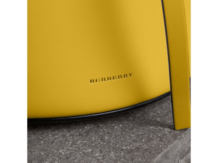 The Small Leather Bucket Bag in Bright Larch Yellow - Women | Burberry - cell image 1