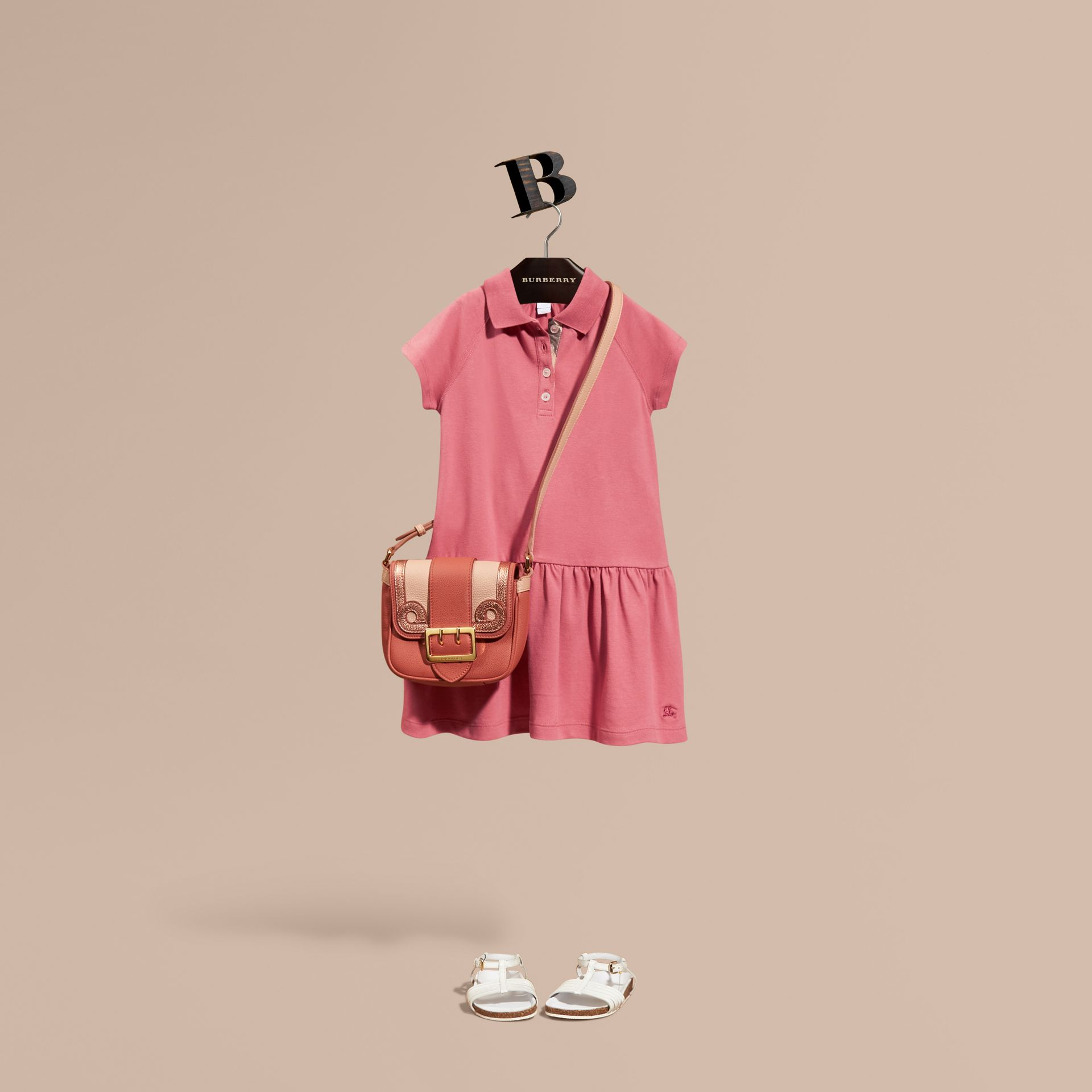 Pink azalea Check Placket Cotton Blend T-Shirt Dress Pink Azalea - gallery image 1