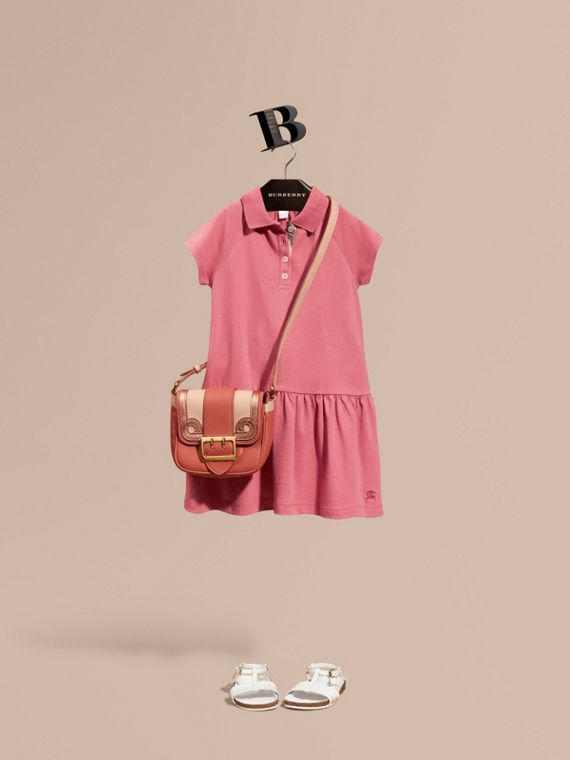 Check Placket Cotton Blend T-Shirt Dress Pink Azalea