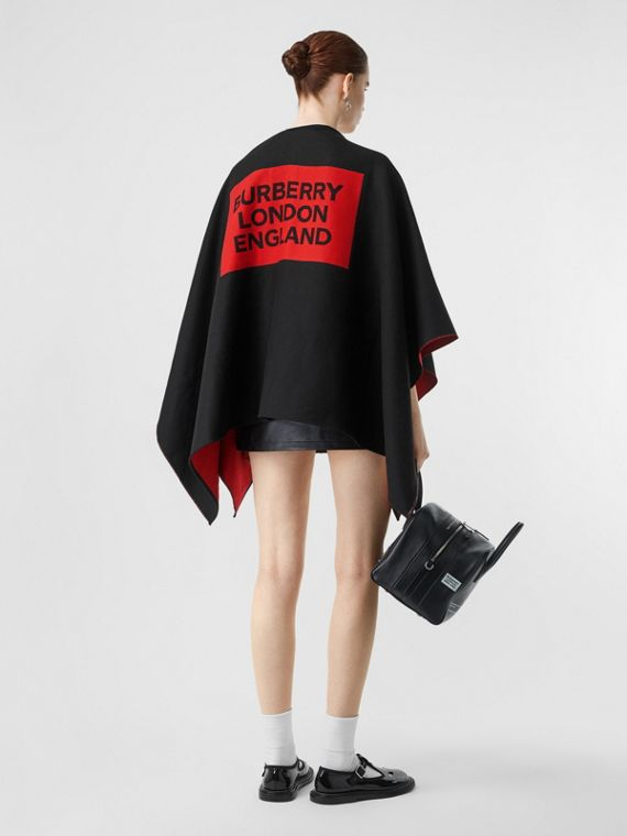 Logo Detail Wool Jacquard Cape in Black