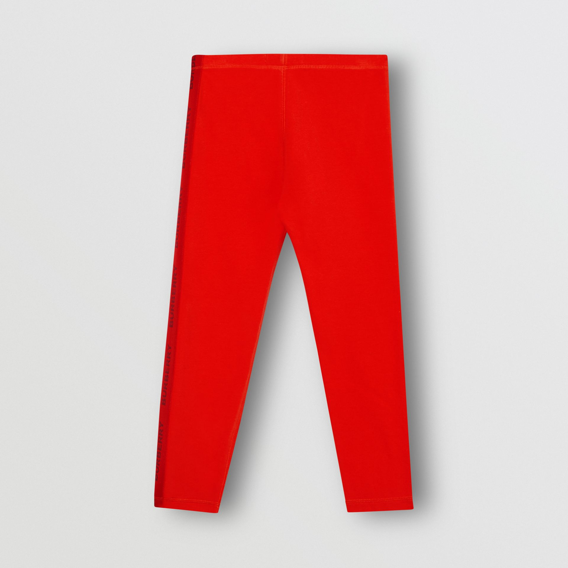 Logo Detail Stretch Cotton Leggings in Bright Red | Burberry United Kingdom - gallery image 3