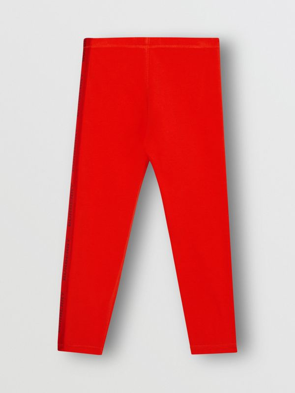 Logo Detail Stretch Cotton Leggings in Bright Red | Burberry Hong Kong S.A.R - cell image 3