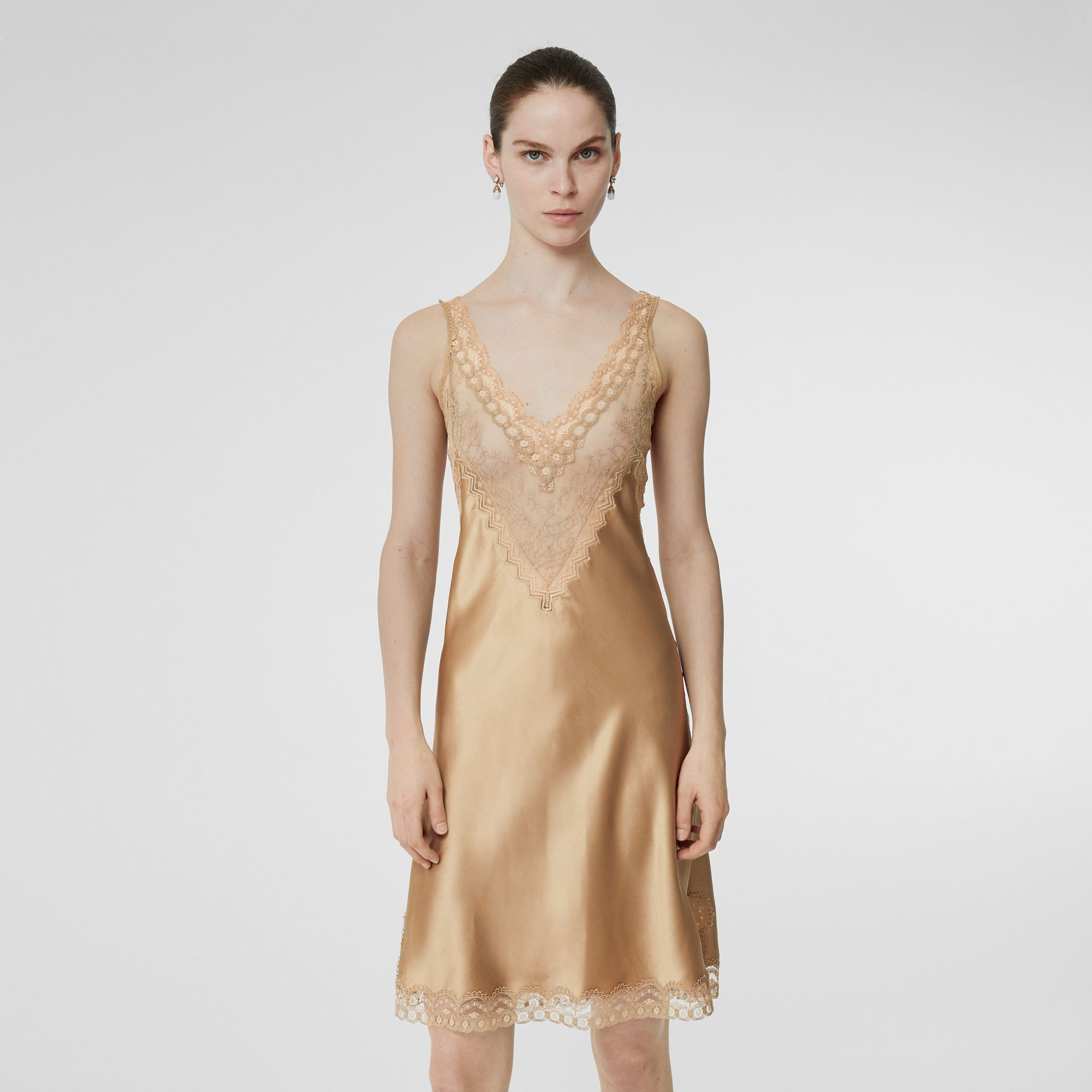 Lace Detail Silk Slip Dress in Honey - Women | Burberry United States - gallery image 0