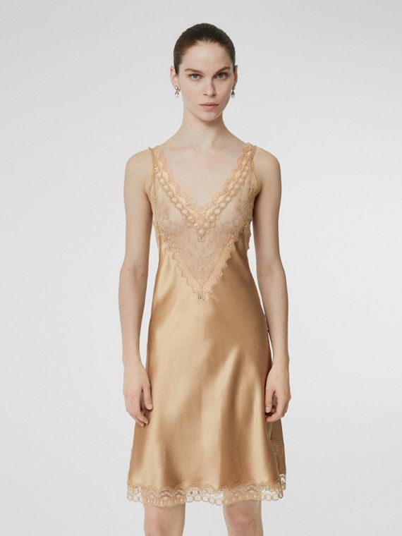 Lace Detail Silk Slip Dress in Honey