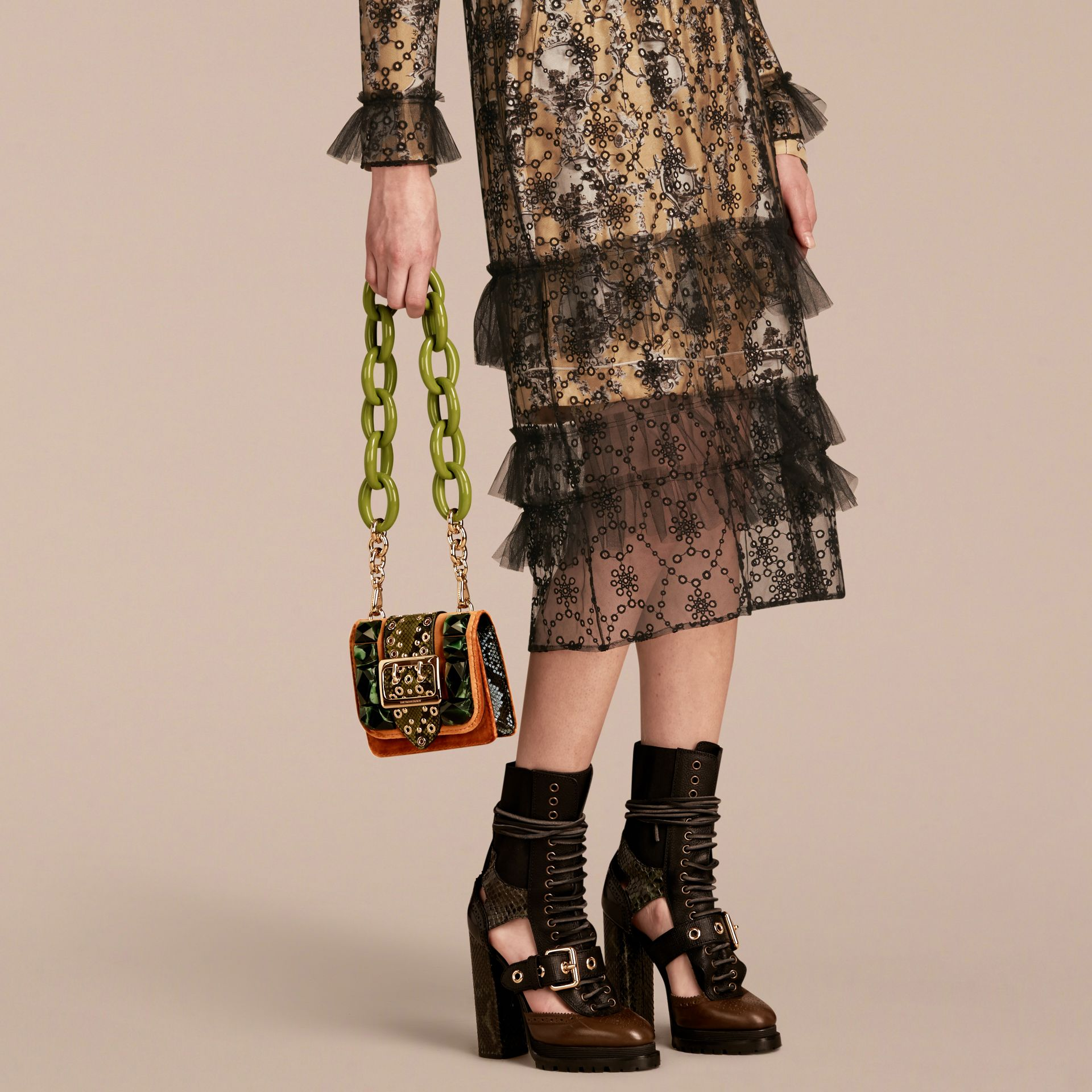 The Mini Square Buckle Bag in Velvet and Snakeskin - gallery image 3