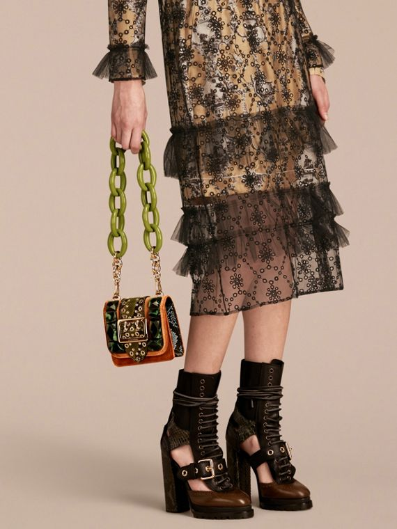 The Mini Square Buckle Bag in Velvet and Snakeskin - cell image 2