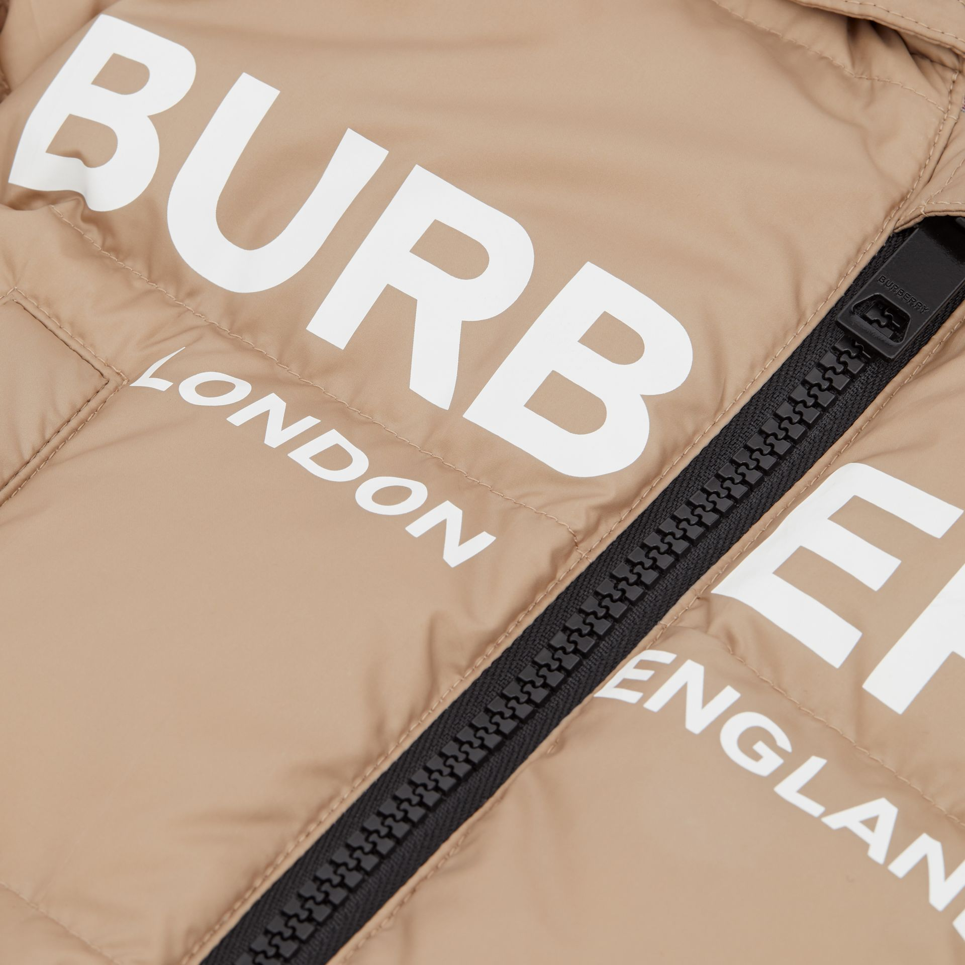 Logo Print Down-filled Puffer Suit in Walnut - Children | Burberry - gallery image 1