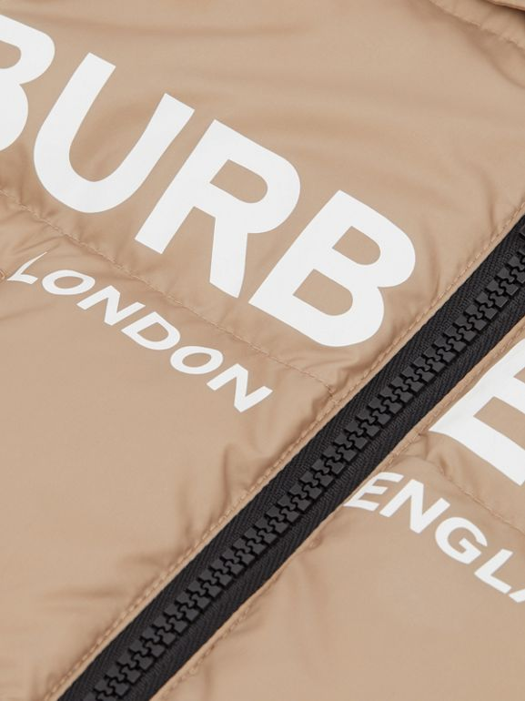 Logo Print Down-filled Puffer Suit in Walnut - Children | Burberry - cell image 1