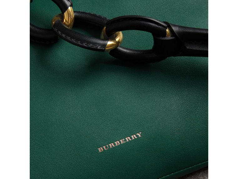 Medium Two-tone Leather Shopper in Racing Green - Women | Burberry - cell image 1
