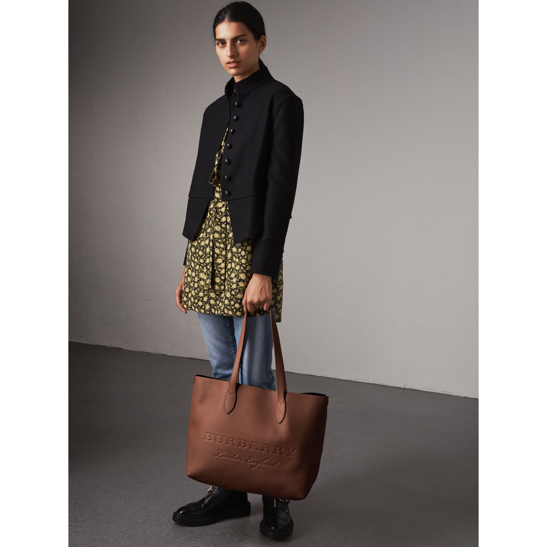 Large Embossed Leather Tote in Chestnut Brown - Women | Burberry - gallery image 3