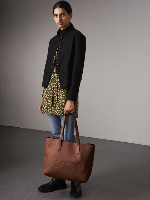 Large Embossed Leather Tote in Chestnut Brown | Burberry - cell image 2