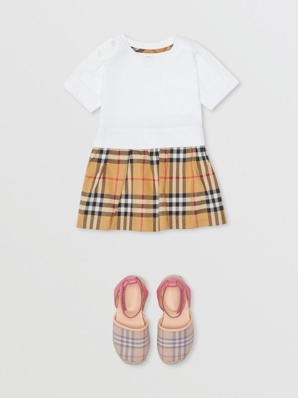 Vintage Check Cotton Dress with Bloomers in White - Children | Burberry - cell image 2