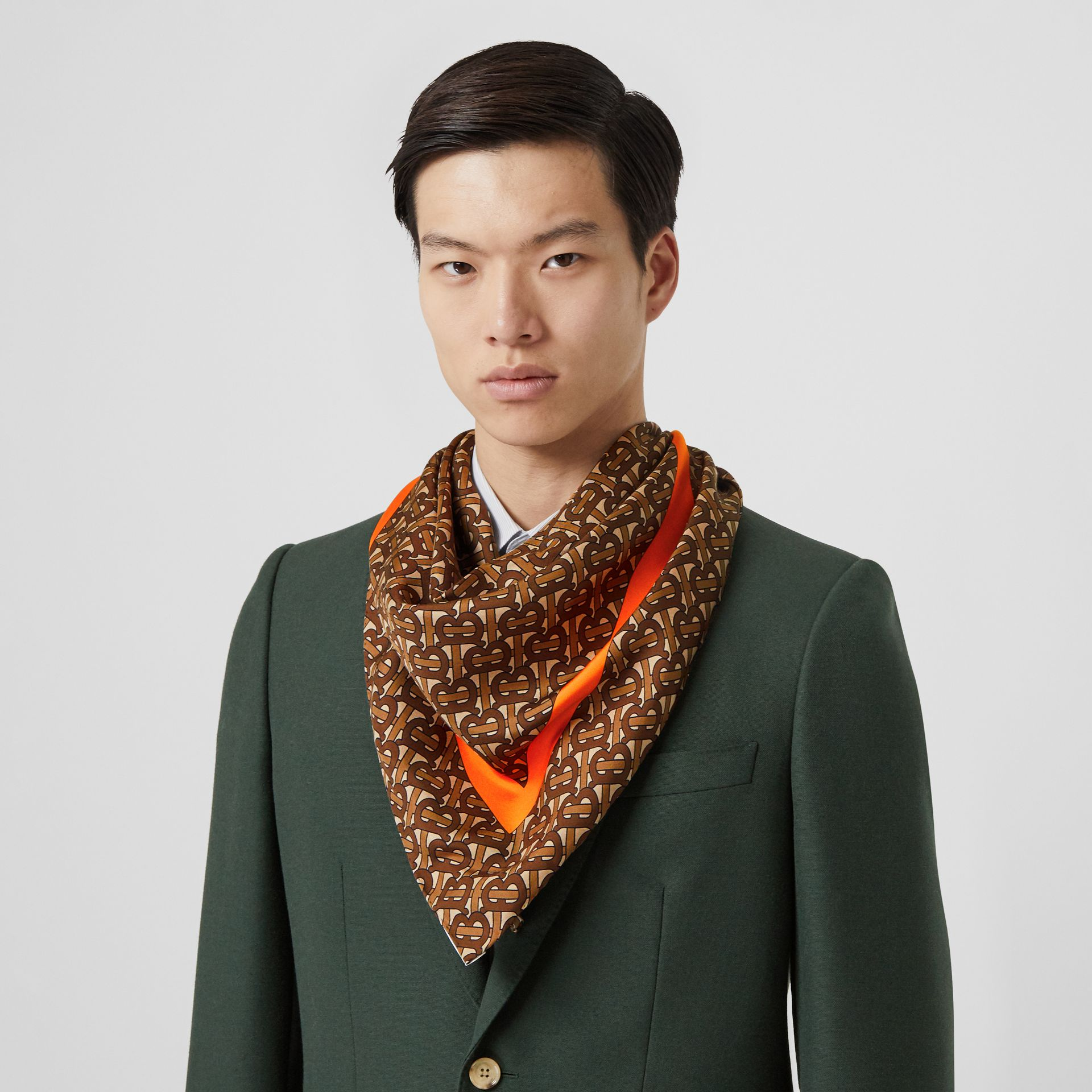 Monogram Print Silk Square Scarf in Bright Orange | Burberry Hong Kong S.A.R - gallery image 4
