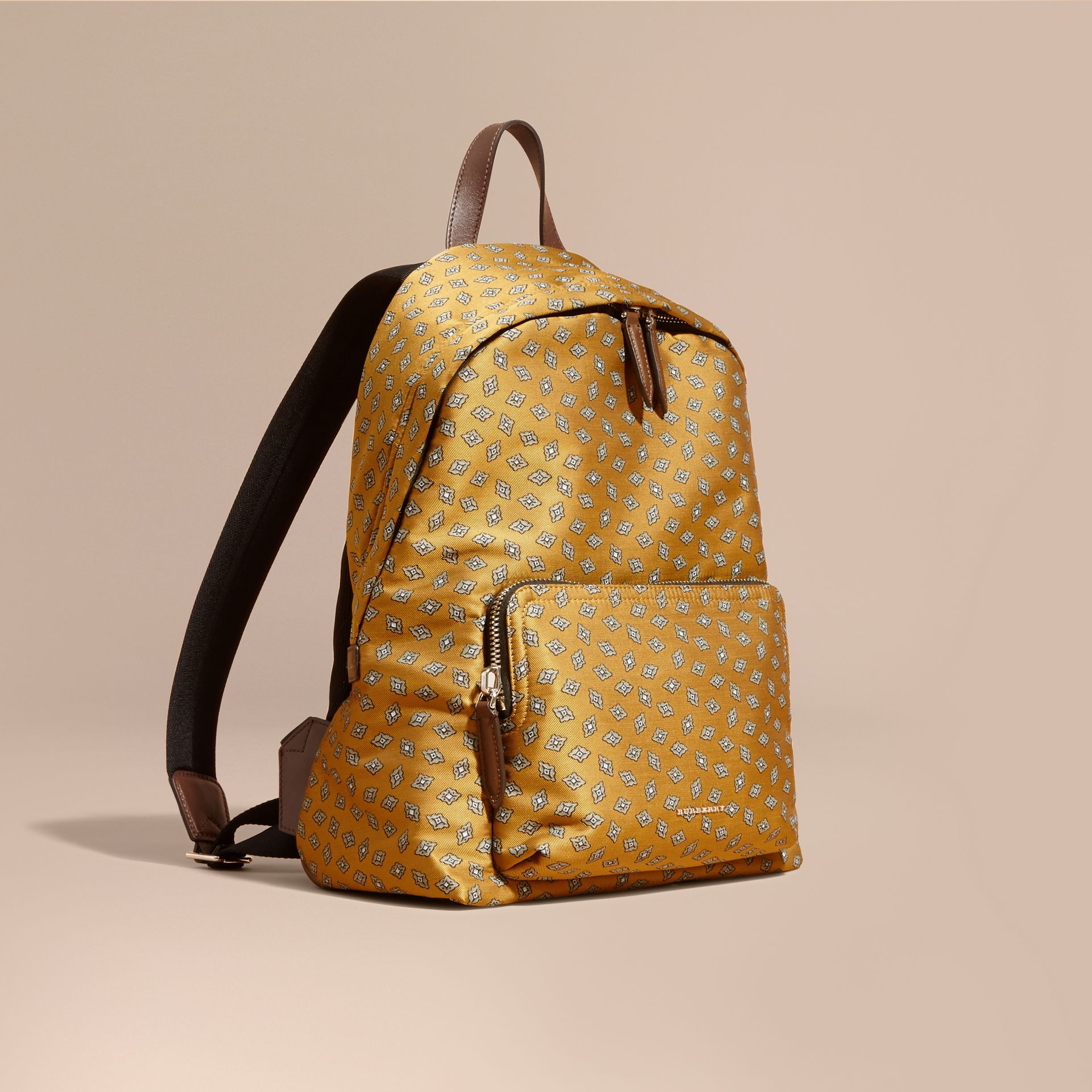 Citrus yellow Leather Trim Abstract Jacquard Backpack Citrus Yellow - gallery image 1