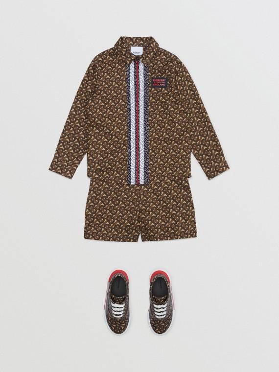 모노그램 스트라이프 프린트 코튼 셔츠 (브라이들 브라운)
