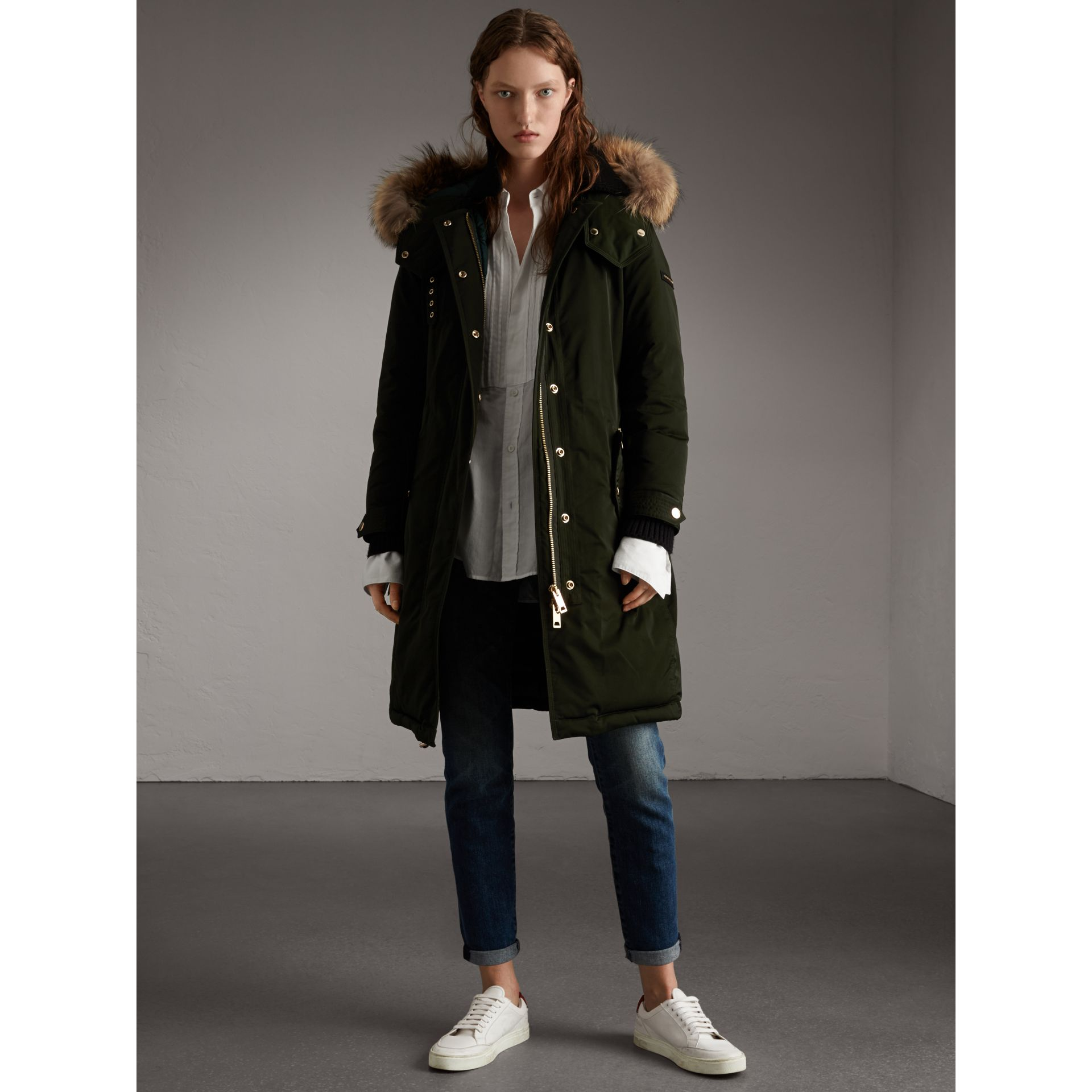 Down-filled Parka Coat with Detachable Fur Trim in Dark Cedar Green - Women | Burberry United States - gallery image 6