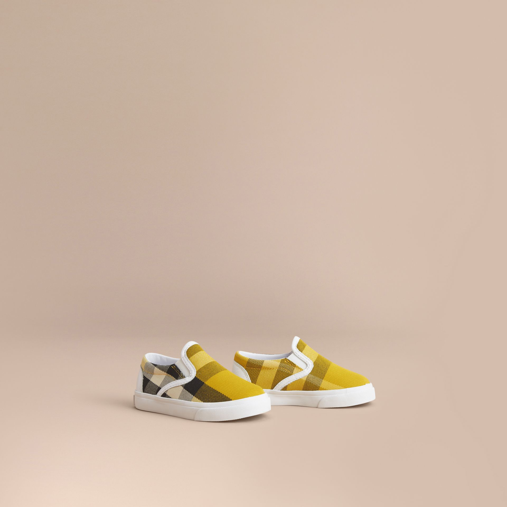 Tonal House Check and Leather Slip-on Trainers in Gorse Yellow - Children | Burberry Australia - gallery image 1
