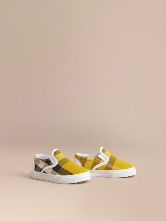 Tonal House Check and Leather Slip-on Trainers in Gorse Yellow - Children | Burberry Singapore