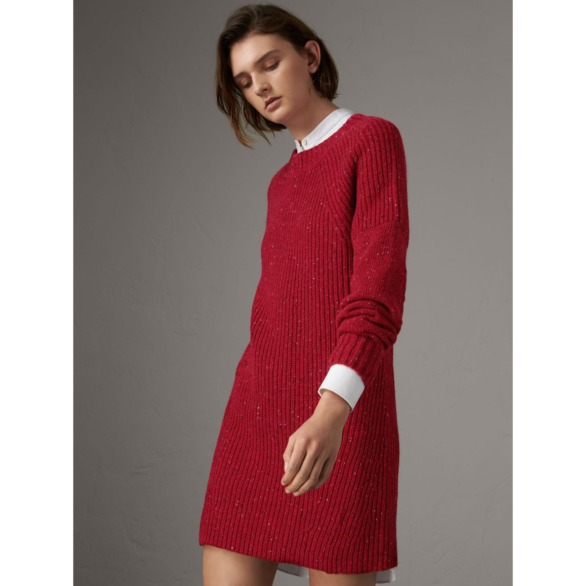 Rib Knit Wool Cashmere Mohair Sweater Dress in Coral Red - Women | Burberry - gallery image 3