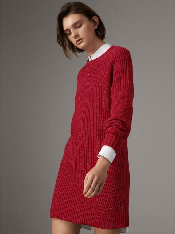 Rib Knit Wool Cashmere Mohair Sweater Dress in Coral Red - Women | Burberry - cell image 3