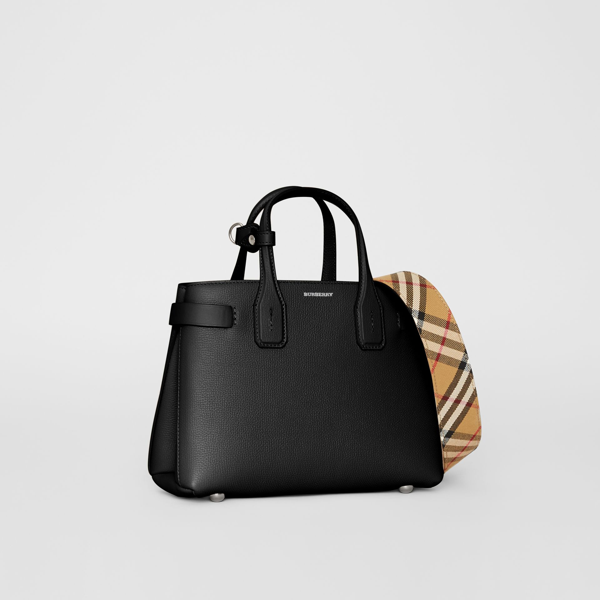 The Small Banner in Leather and Vintage Check in Black - Women | Burberry - gallery image 0