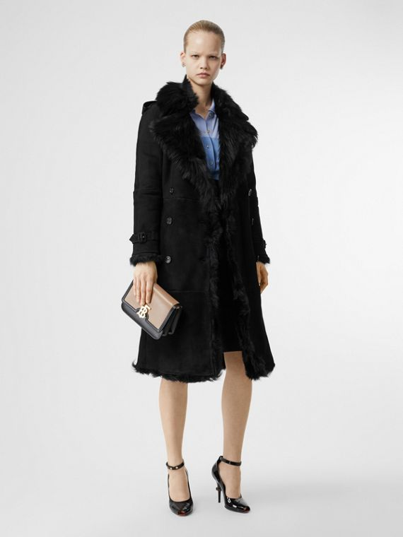 Shearling Trench Coat in Black