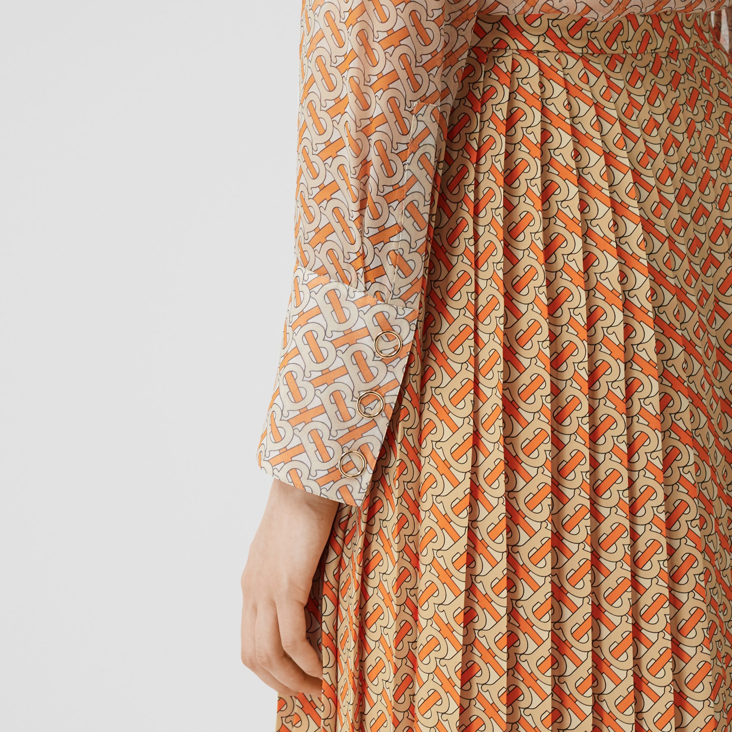 Monogram Print Crepe De Chine Pleated Skirt in Bright Orange - Women | Burberry - 2