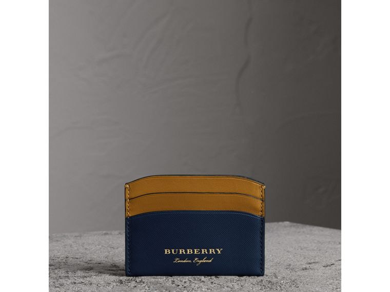 Two-tone Trench Leather Card Case in Ink Blue/ochre Yellow - Women | Burberry - cell image 4