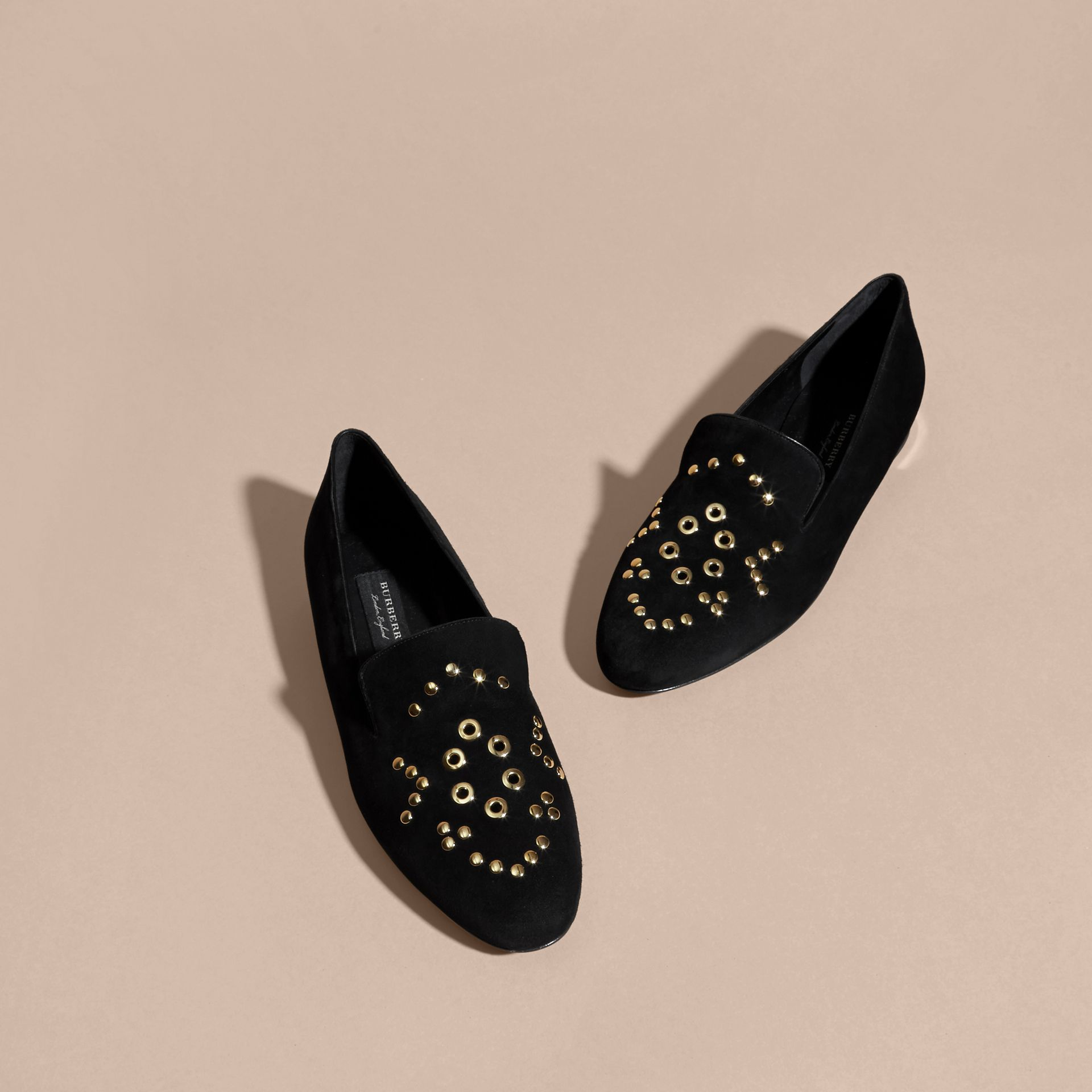 Black Rivet and Eyelet Detail Suede Loafers - gallery image 3
