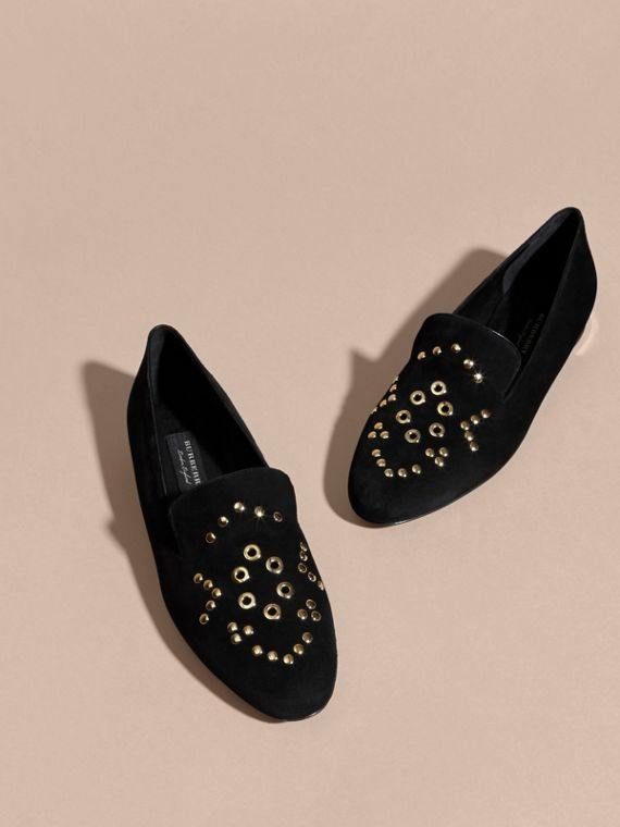 Black Rivet and Eyelet Detail Suede Loafers - cell image 2