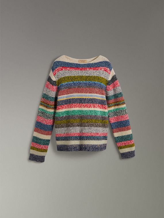 Striped Merino Wool Mouliné Sweater in Multicolour - Men | Burberry - cell image 3