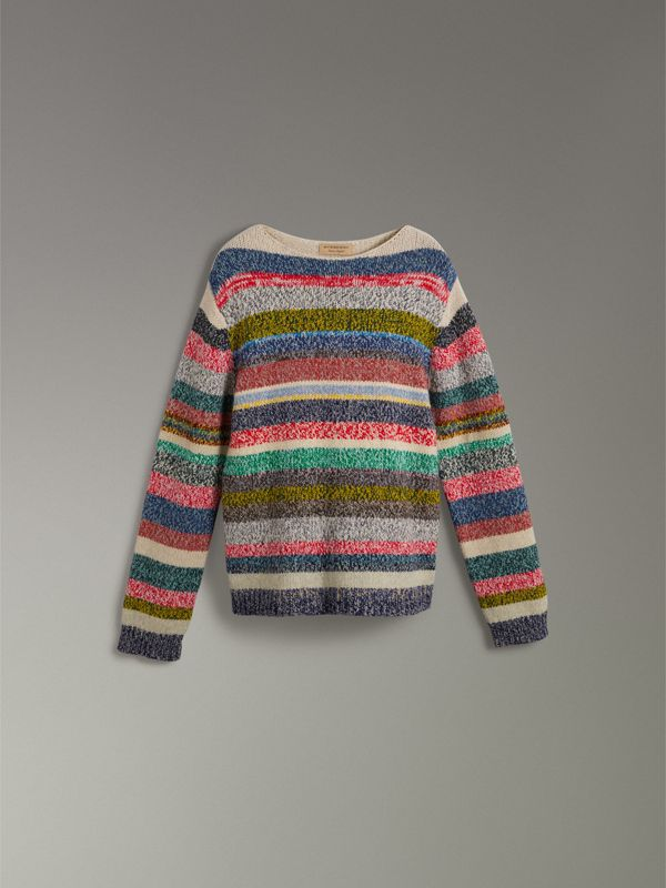 Pullover a righe in lana Merino mouliné (Multicolore) - Uomo | Burberry - cell image 3