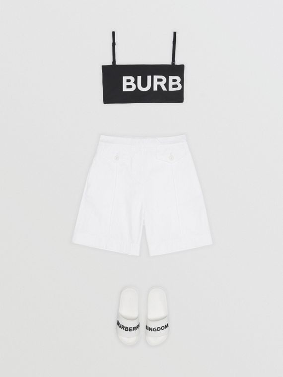 Logo Print Cotton Tailored Shorts in Optic White