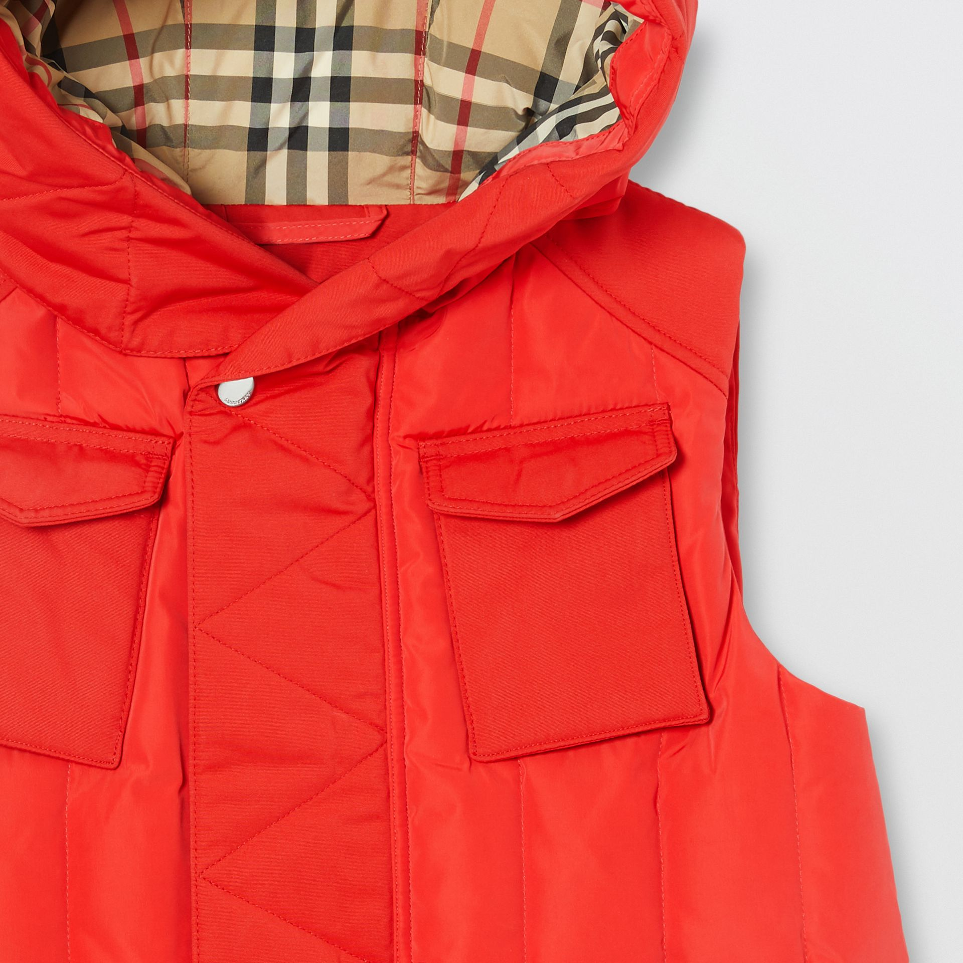 Down-filled Hooded Puffer Gilet in Bright Red | Burberry - gallery image 5