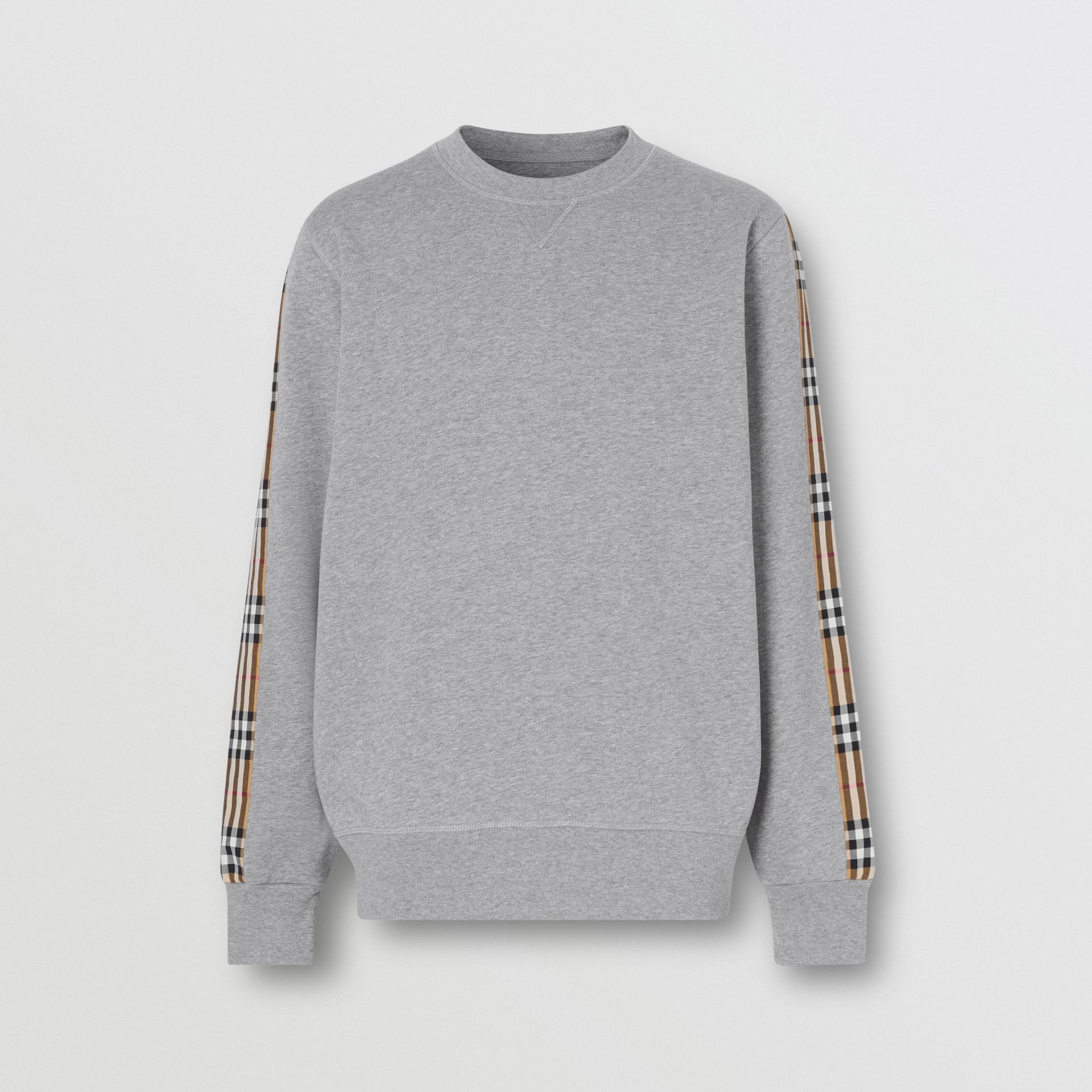 Vintage Check Panel Jersey Sweatshirt in Pale Grey Melange - Men | Burberry - gallery image 3
