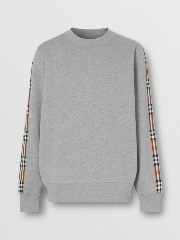 Vintage Check Panel Jersey Sweatshirt in Pale Grey Melange - Men | Burberry - cell image 3