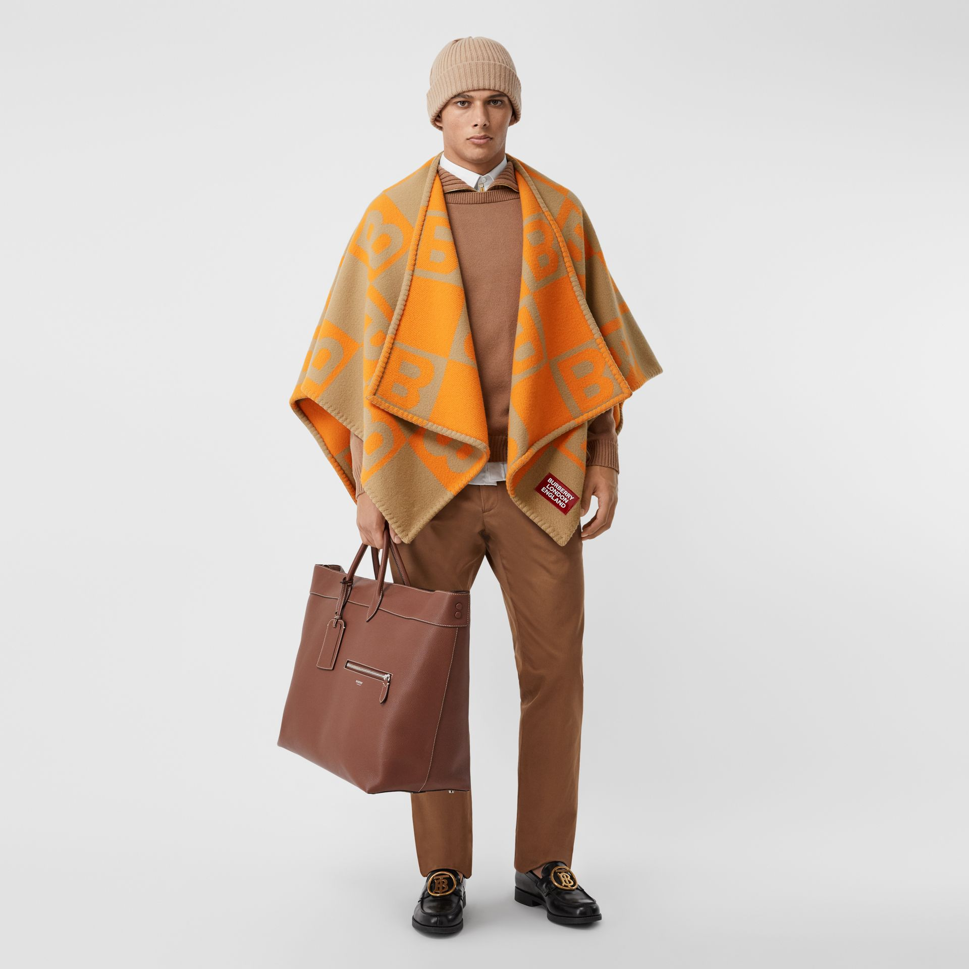 B Motif Merino Wool Cashmere Cape in Orange - Women | Burberry - gallery image 8