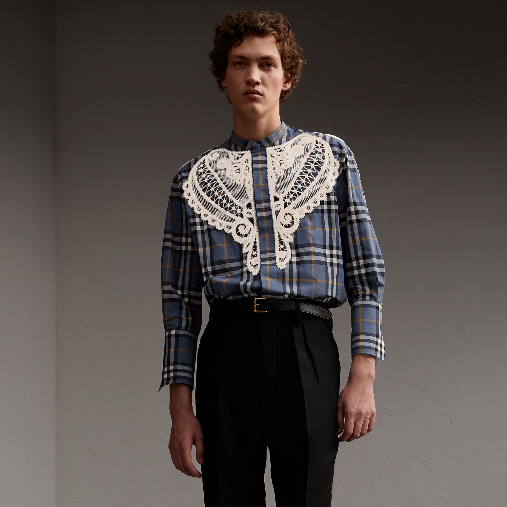 Lace Appliqué Check Cotton Shirt - Men | Burberry - gallery image 1