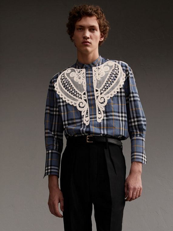 Grandad Collar Check Cotton Shirt with Lace Appliqué