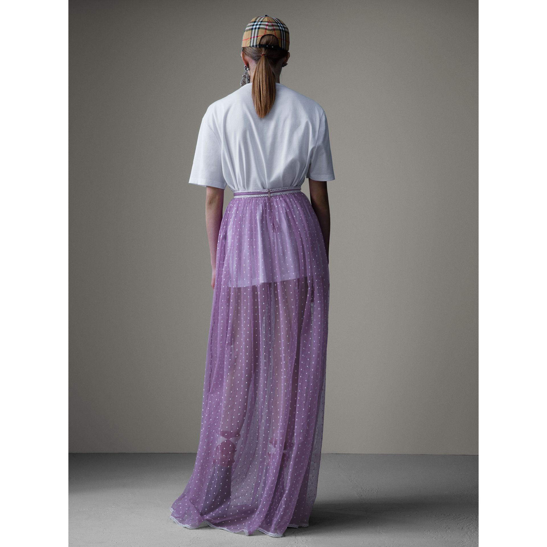 Floor-length Flocked Cotton Tulle Skirt in Lilac/white - Women | Burberry Australia - gallery image 2