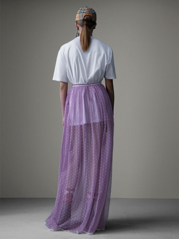 Floor-length Flocked Cotton Tulle Skirt in Lilac/white - Women | Burberry Australia - cell image 2
