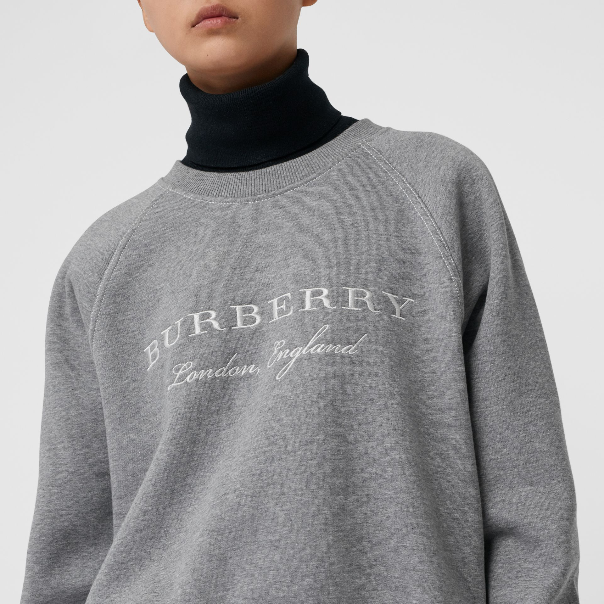Embroidered Cotton Blend Jersey Sweatshirt in Pale Grey Melange - Women | Burberry United Kingdom - gallery image 1
