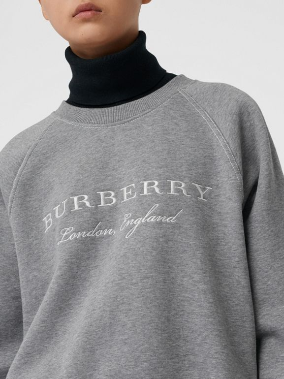 Embroidered Cotton Blend Jersey Sweatshirt in Pale Grey Melange - Women | Burberry United Kingdom - cell image 1